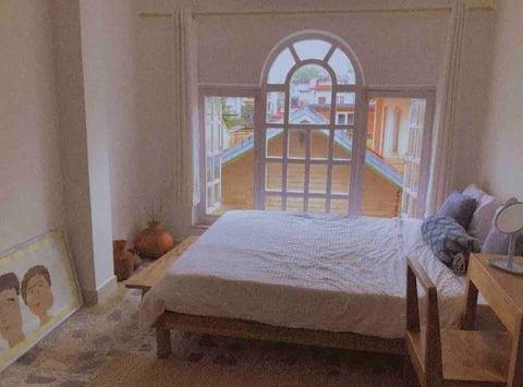 Double bedroom along living room