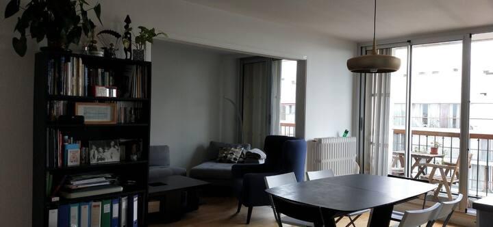 Gd appartement 105m2 dernier étage. chambre privée