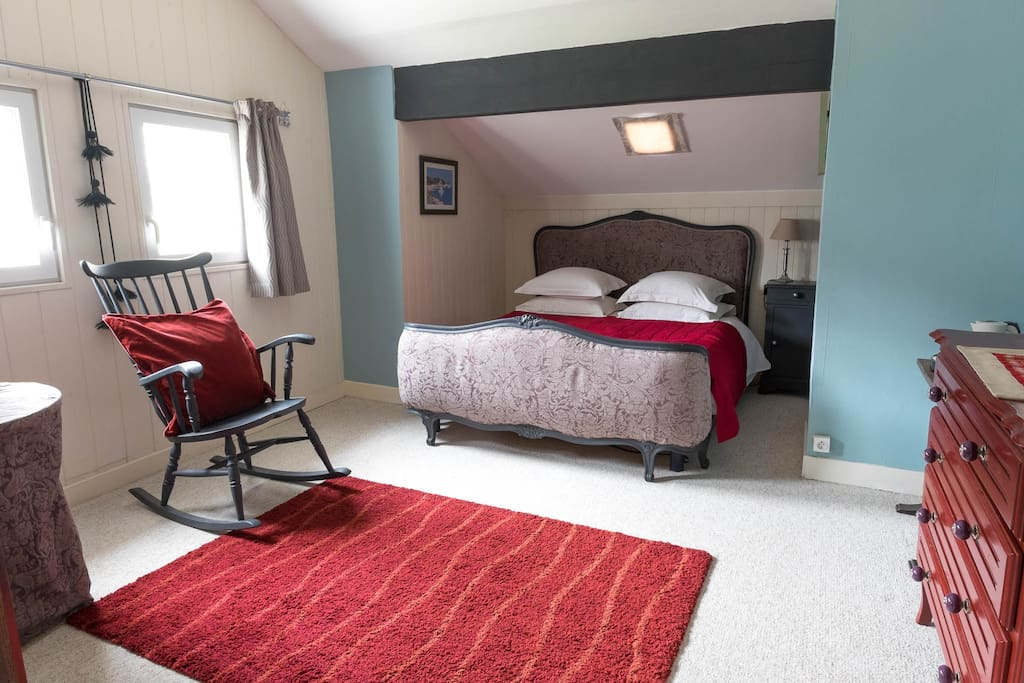 bright and comforable, double bed, tall boy wardrobe, the bathroom is across the hall
