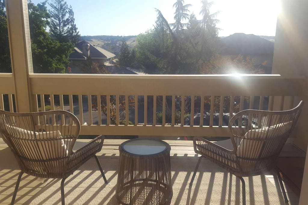 Enjoy the sunrise over the foothills in your private area on the deck.
