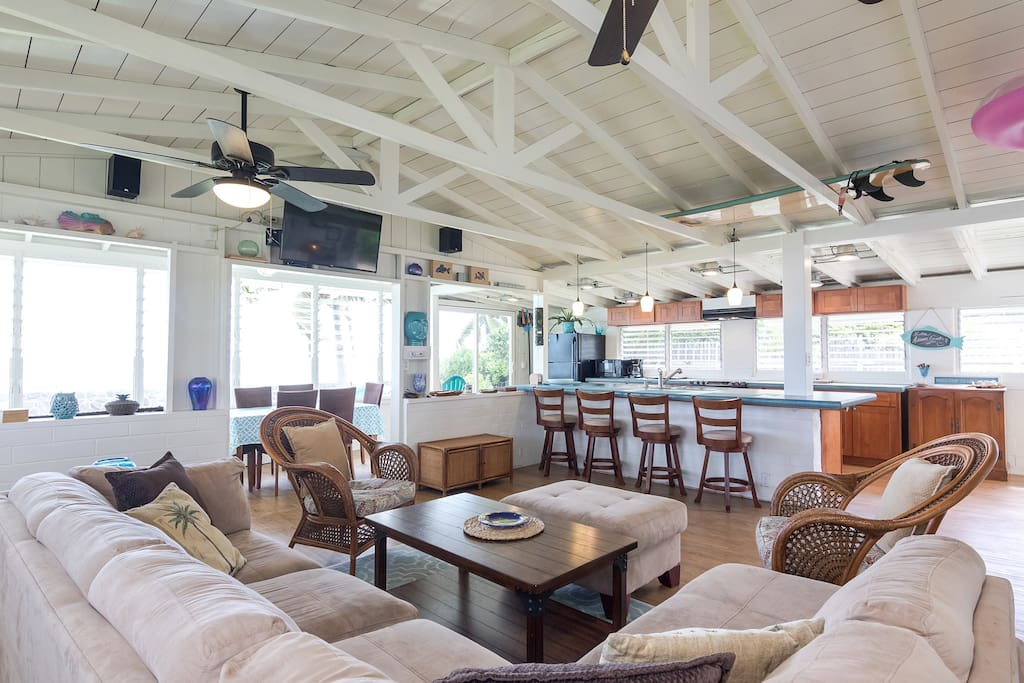 Main room is an 'open-concept' family area -  this shot is looking toward the ocean front