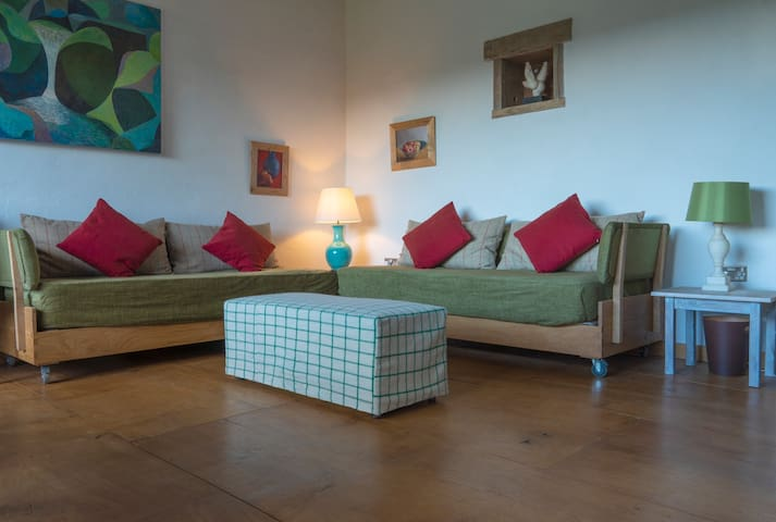 The sofas can be made into a comfortable double bed if there are more than five people staying.