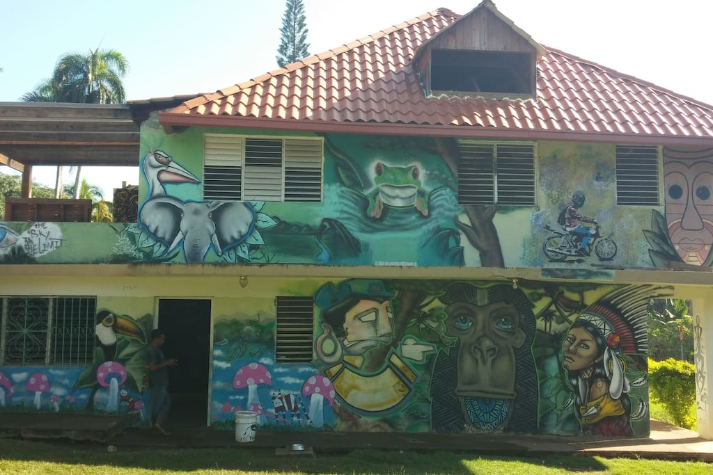 A muralist's dream: our artist-friends blessed the house with their creative gifts.