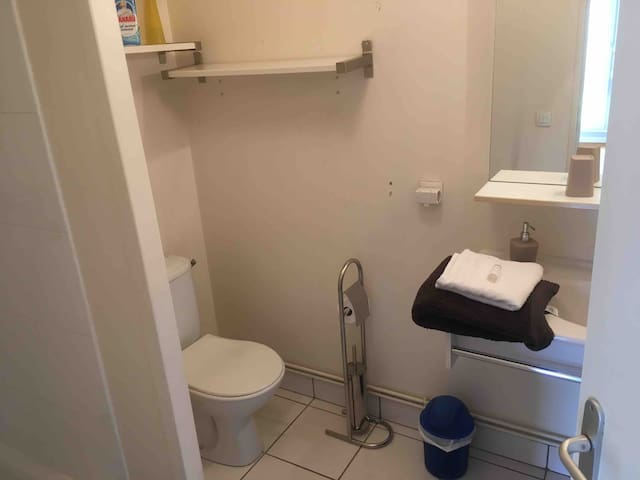 Salle de douche et wc réservés à la chambre