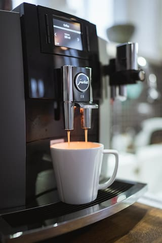 High quality coffee machine that will grind and brew you a fresh cup of coffee within minutes.   Variety types of coffee, such as cappuccino, latte, maccitato, espresso etc.