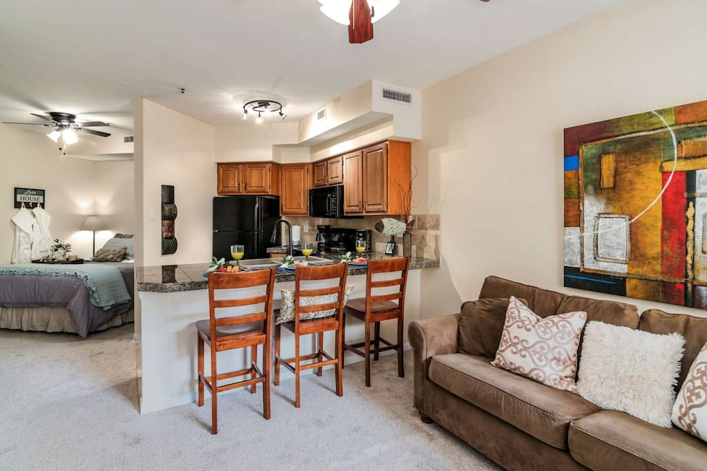 This open floor plan is great for staying connected with your guests during your stay!