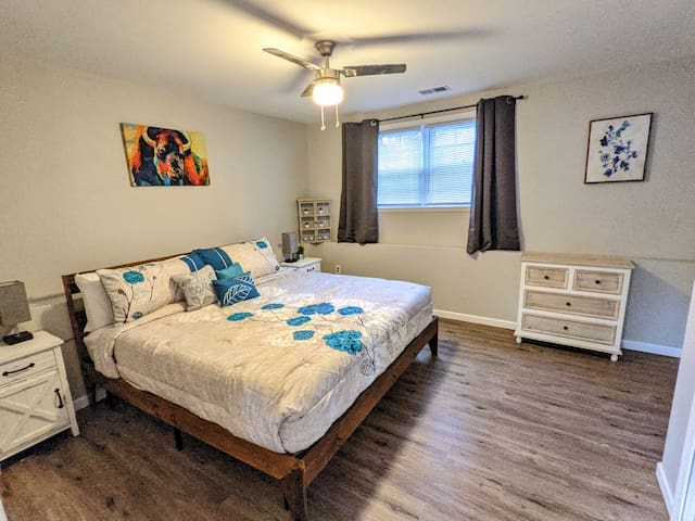 Master bedroom with King size bed and bathroom. Newly renovated.