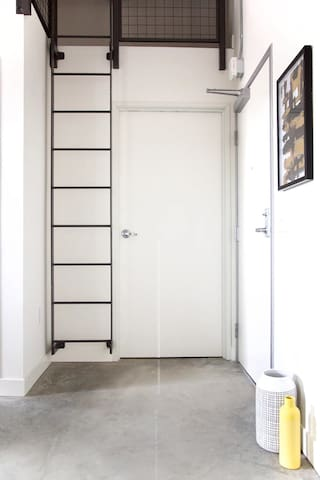 Ladder to access sleeping area. This ladder is the only way to access this area.  This area is not recommended for children, elderly, or those with physical and/or medical restrictions or special needs.