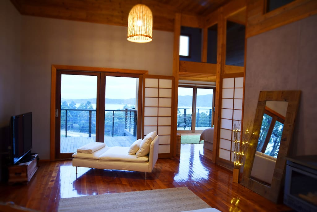 Chaise in the living area with magnificent view