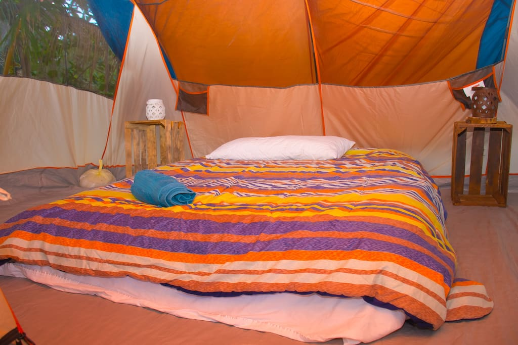 Inside your tent, you will find a comfortable mattress with all essentials.