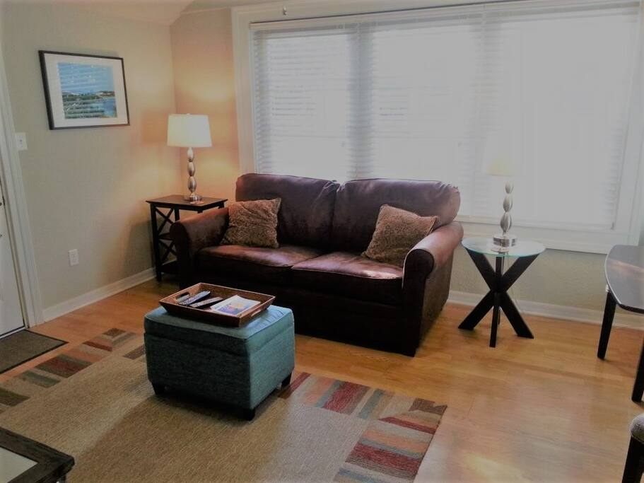 Living Room - full size sleeper sofa with memory foam topper