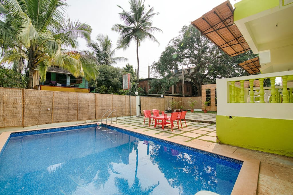 Villa with private swimming pool houses for rent in north goa goa india for Guest house in goa with swimming pool