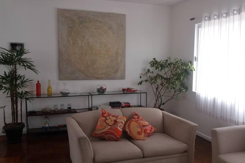 sofás e almofadas confortáveis