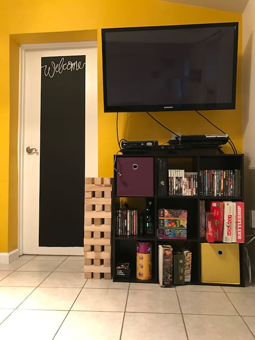 Our entertainment center includes a PS3, Xbox 360, puzzles, coloring books, board games, movies, and books! Feel free to leave us a message on the chalkboard.