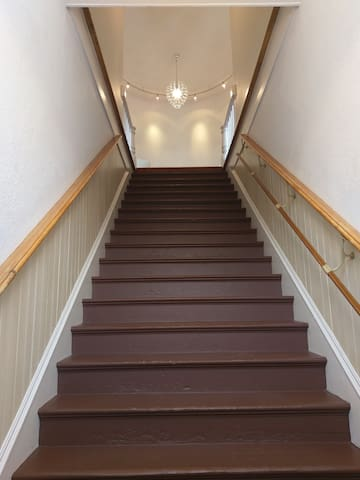 Once you enter the outside door, you ascend these stairs