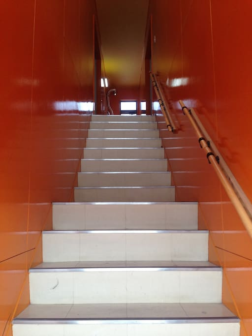 Escalier menant au studio.  Stairs for going to the appartment flat.エントランスを入ると二階のお部屋に続く明るい階段