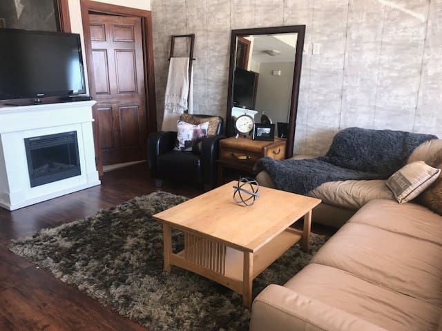 Living room with a couch that makes into a bed.