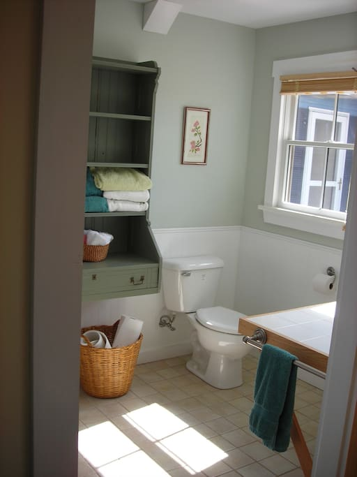First floor full bath with clothes washer and drier. Second full bath available on the second floor.