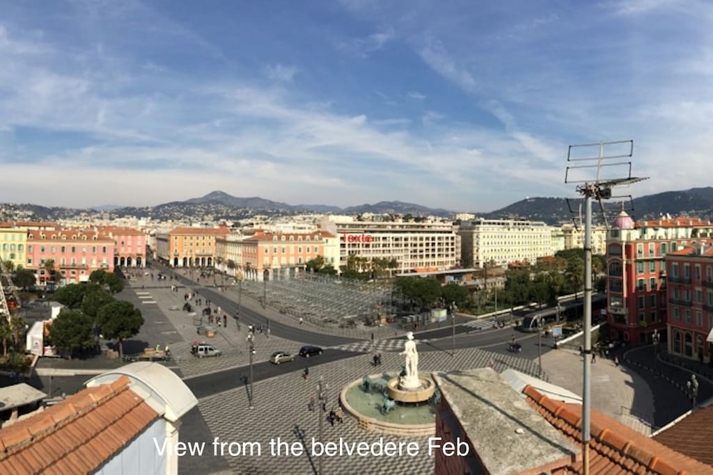 View on the Place Massena from the belvedere