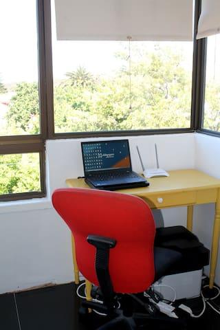 Study area on the balcony.