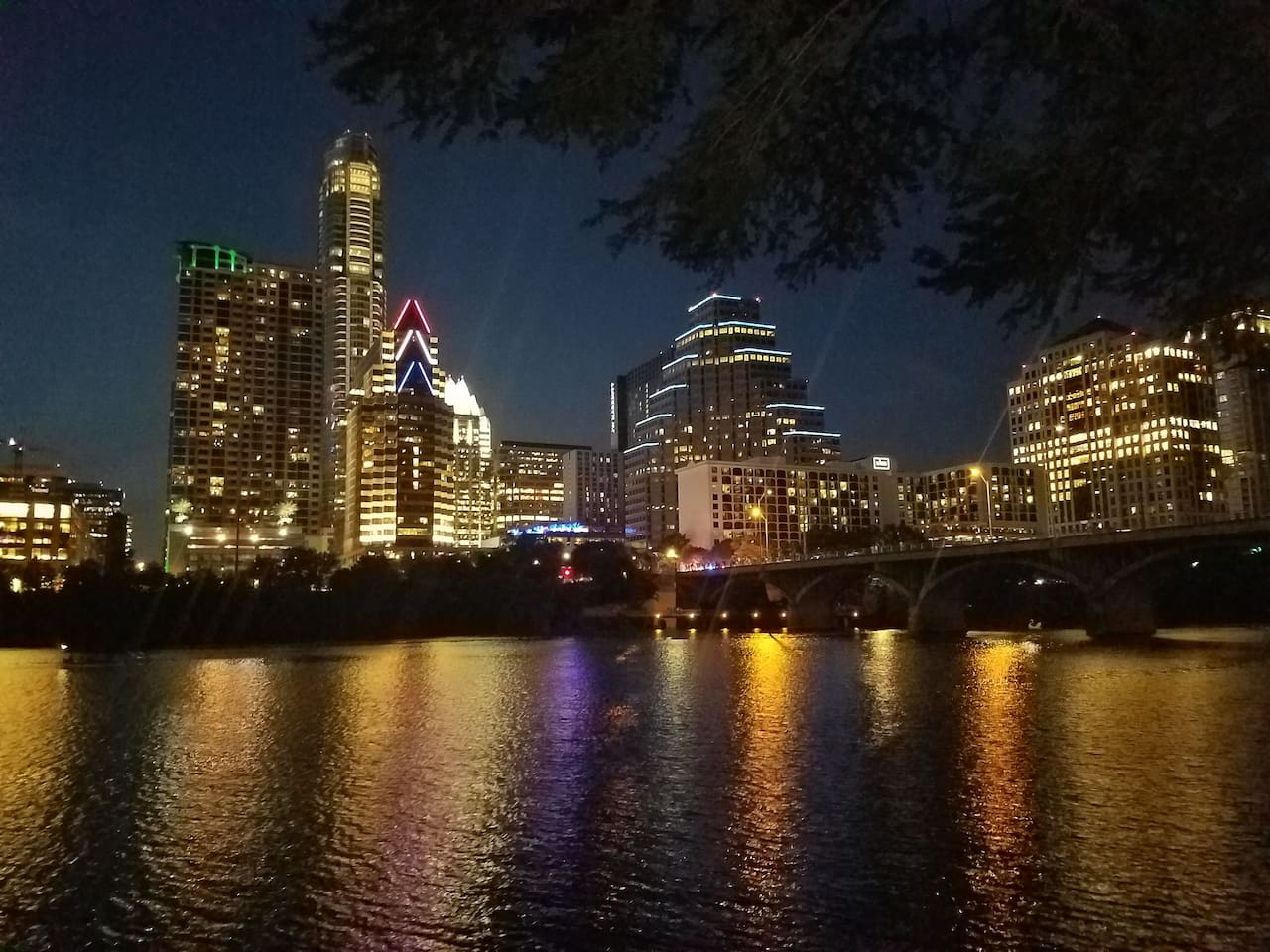 A view of downtown from the pedestrian path along the south side of Lady bird lake. This is my most favorite spot to take a walk in Austin. The bridge in the photo is where those famous Austin bats show up.