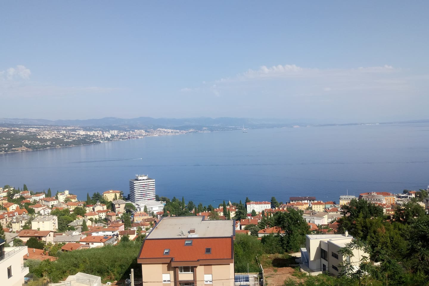 View of Rijeka, Opatija and the whole Kvarner bay from the room.