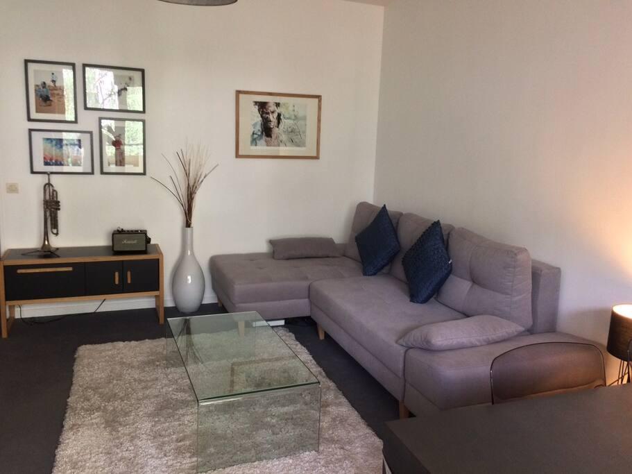 Ample salon avec canapé lit confortable