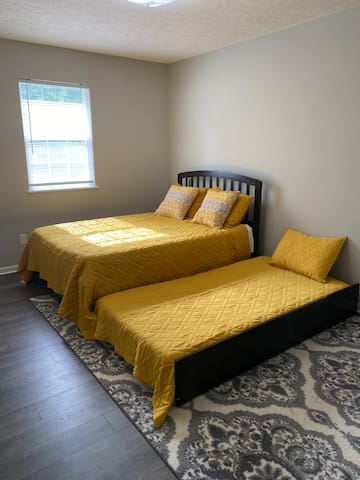 Bedroom two has a trundle bed that can accommodate two people.