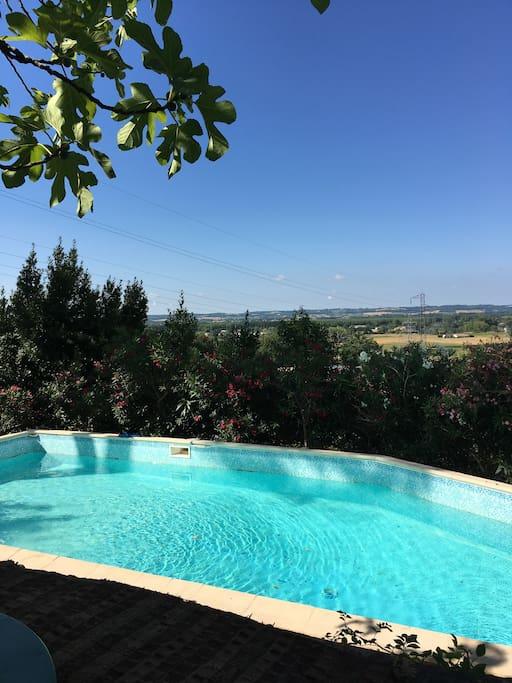 La piscine (13 mètres dans sa longueur) sous la terrasse sous les yeux des adultes.