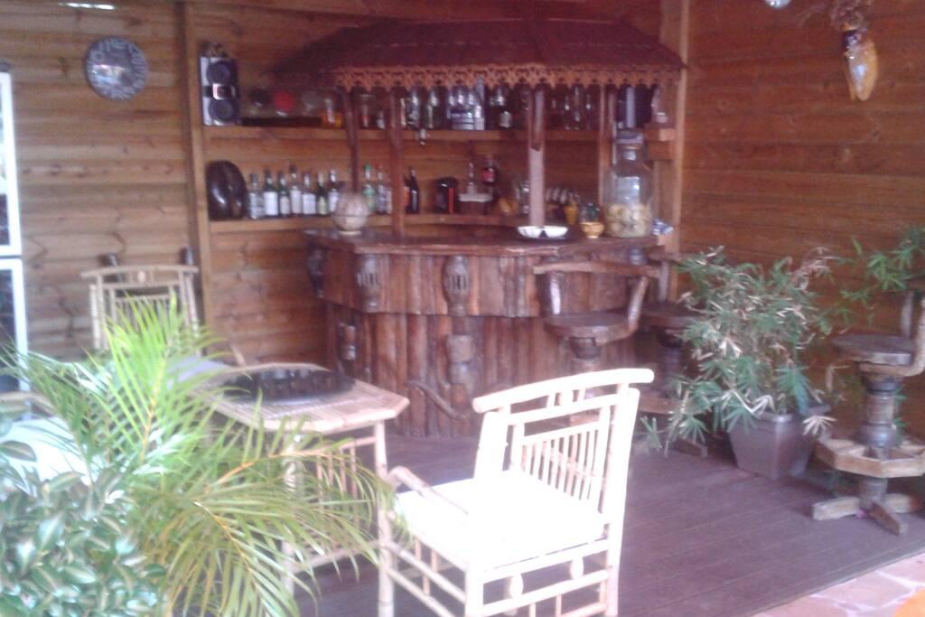 kiosque dans jardin avec bar