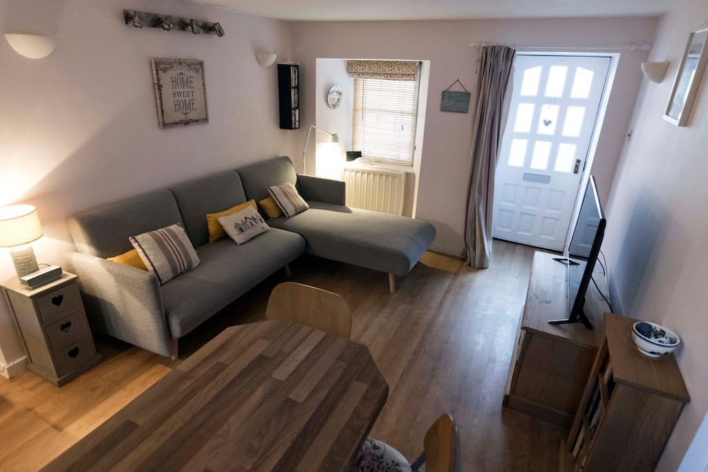 Sitting room with bed settee, TV and DVD player