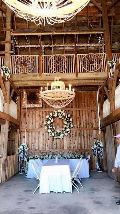 Bridge spanning both lifts.... beautiful spiral staircases throughout the barn...