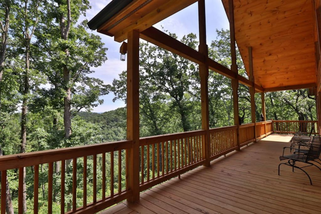 Stunning North Georgia Mountain views from the main level deck at 2265 ft above sea level