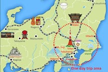 Guests can go to major sightseeing spots such as Mt. Fuji, Hakone, Nikko, Kamakura, etc. by one day trip.
