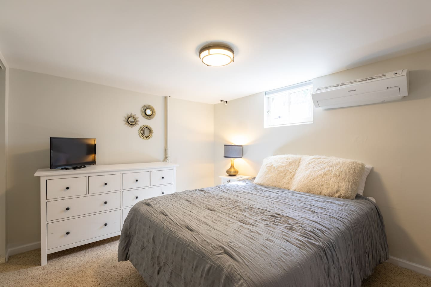 Master bedroom with its own remote heating and cooling unit, and tv with Netflix and Hulu