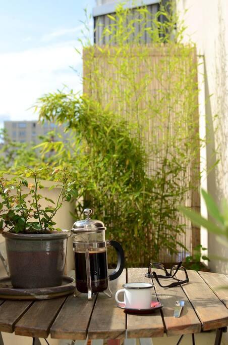 balcon ensoleillé et planté