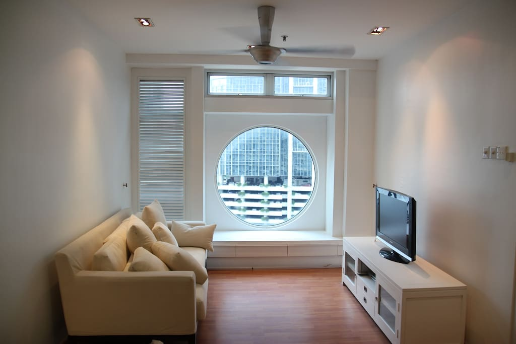 Cosy living room with KLCC view and 40 inch LED TV