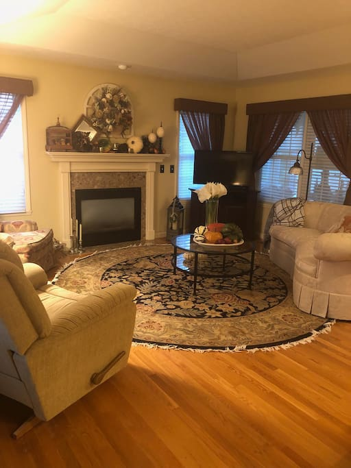 Cozy Family Room with gas fireplace