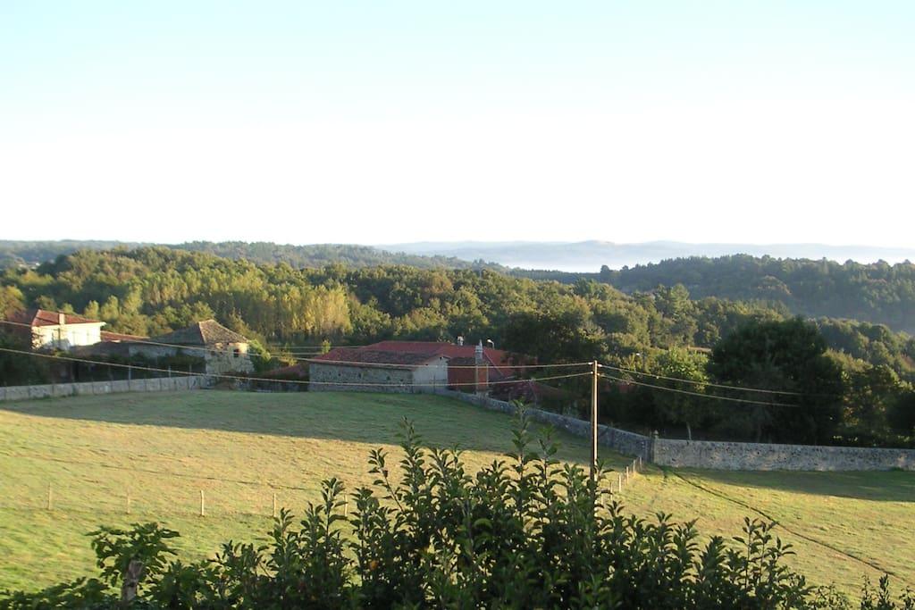 Vista al valle desde las habitaciones y la terraza.