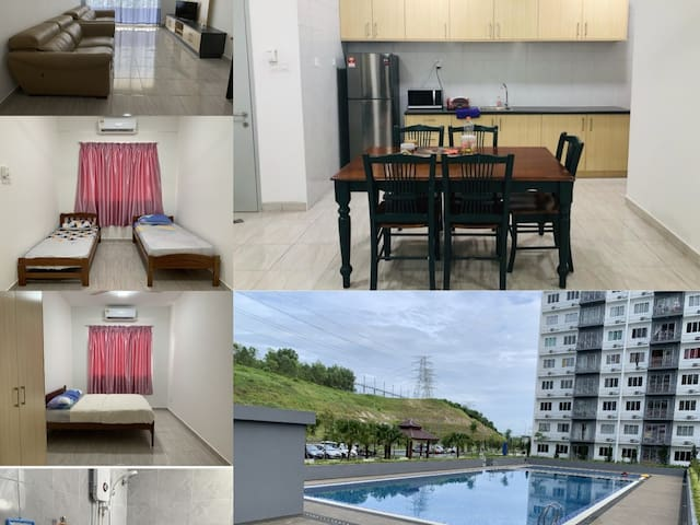 3 bedroom with a/c & 3 bathroom Apartmen with pool
