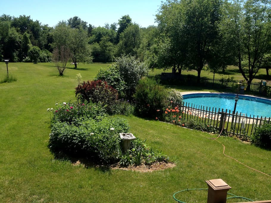 view of backyard from deck