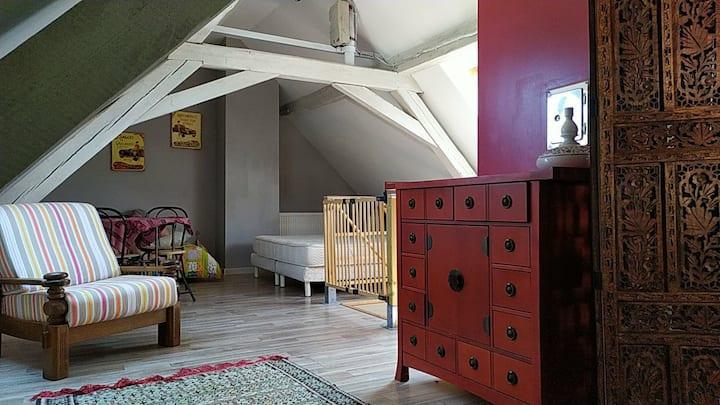 Belle Chambre mansardée 50 m2 au sol 10 mn CV STRG