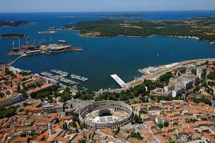 Pula, only 20 min drive you will find yourself surrounded with history, culture, night life etc.