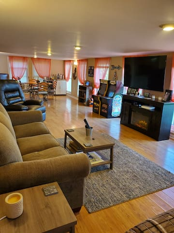 Family room with sleeper sofa and games