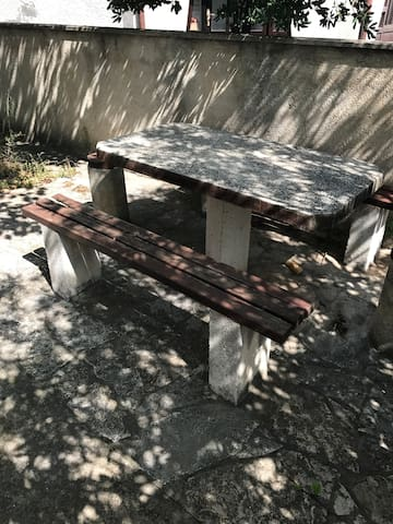 Back yard with table