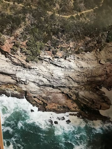 Aerial image of a small area of the Shelly Beach walk.  A scenic coastline walk at Angourie just 10 minutes drive.  The perfect way to spend a morning or afternoon.