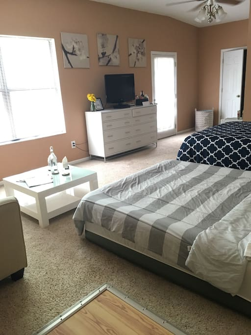 What the room will look like with an Intex Comfort Plush (full size) air mattress. This air bed is elevated and superior in its class. The is available upon request.  As you can see the suite is still incredibly spacious!