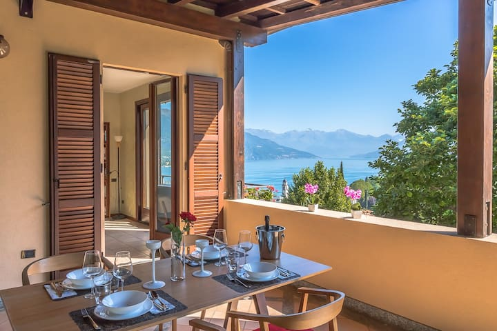 Terrace with amazing view on the Como Lake. Patio with table for outdoor dinners