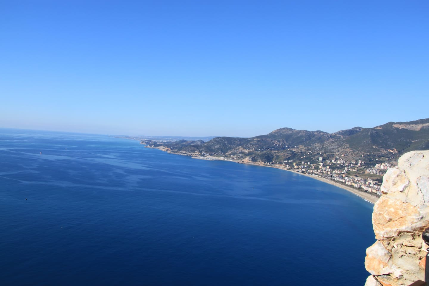 View from Cleopatra Cliff over Cleopatra beach in Alanya