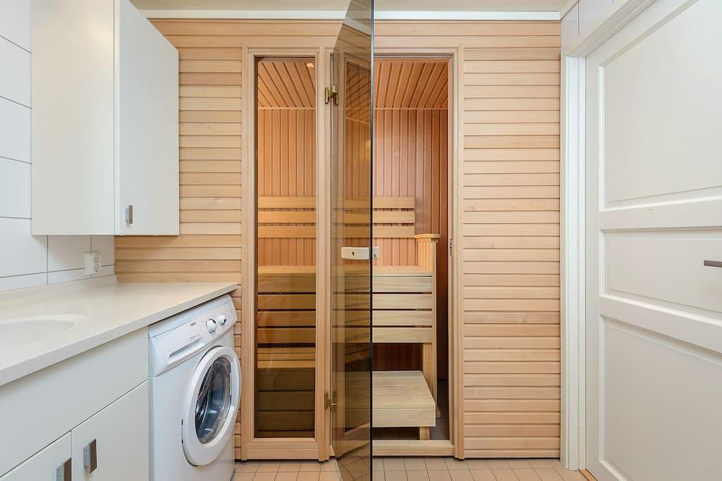 Bathroom with sauna.
